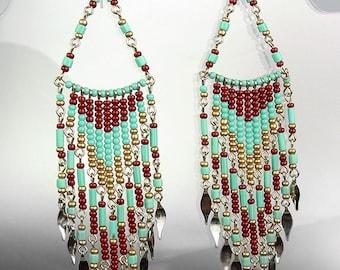 Turquoise Multi Beads Bohemian Boho Gypsy Peruvian Chandelier Dangle Earrings , Bohemian Earrings, Cascading Dangle Earrings, FREE SHIPPING!