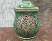 Medium Jar in Celadon with Japanese Waves and Flowers