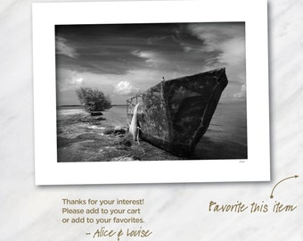 Signed 12x18 Black & White Fine Art Photo. Spanish Key, Florida. Refugee Boat. Matted to 18x24