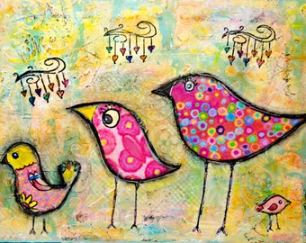 11x14, Mixed Media, Affordable, Birds, Wall Art, Whimsical
