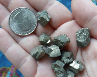 2  pc Pyrite Drilled Crystal Beads