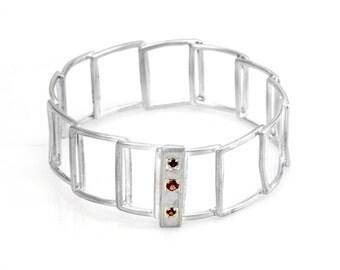 Geometric Bracelet - Square Bracelet - Garnet Bracelet - Sterling Silver link Bracelet - Sterling Silver Chain Bracelet - Gift for Her