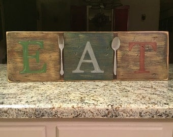 EAT Wood Sign, silverware, hand painted sign, wood sign, kitchen decor, farmhouse decor, distressed kitchen sign, utensils