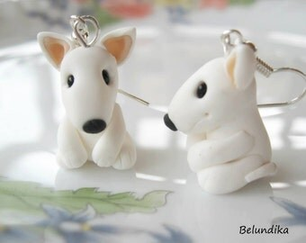 White Bull Terrier earrings