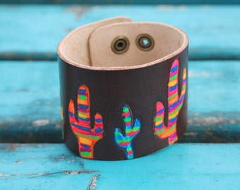 "Leather Cuff Bracelet, Hand Painted Serape Cactus Western, Southwestern, Bohoemian Leather Handmade Jewelry ""Desert King"" Adjustable Cuff"