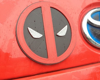 Fanart 3D printed red/black Deadpool car decal/logo/magnet, great gift for nerd girl or boy