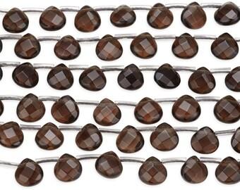 15 1/2 IN Strand 8x8 mm Smokey Quartz Faceted Pear Gemstone Beads (SMQPRF0808)