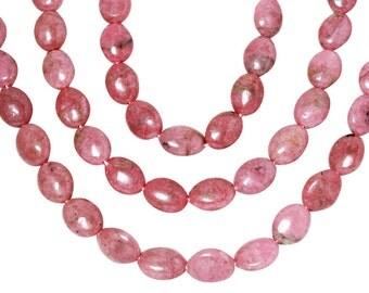 15 1/2 IN Strand 12x16 mm Rhodonite Oval Smooth Gemstone Beads (RH100105)
