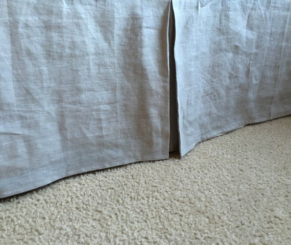 Grey Linen Bed Skirt : Stone grey tailored linen bedskirt natural bed skirts
