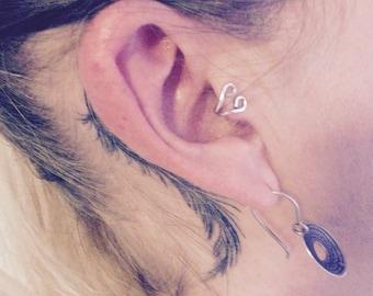 Silver Tragus ear cuff UK| silver ear cuff| Inner ear cuff |nose cuff| non pierced nose ring| gothic ear cuff| cartilage cuff
