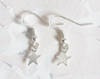Silvery star earrings, starry jewelery, jewelery for girls, magical, fairy