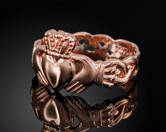 Rose Gold Claddagh Ring - Ladies Rose Gold Celtic Band Irish Claddagh Ring
