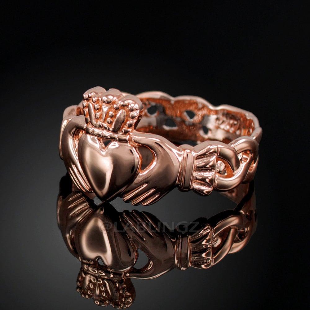 rose gold claddagh ring ladies rose gold celtic band irish. Black Bedroom Furniture Sets. Home Design Ideas