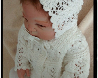 Newborn Baby Girl Set,Baby Bonnet and Cardigan, Knitting Hat in White,Baby Girl Hat, Baby Photo Prop,* READY TO SHIP *