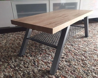 Reclaimed plywood and metal coffee table