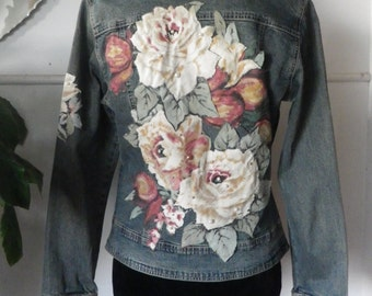 Denim jacket, stretch, aged front panels, zip front, pre-loved, upcycled.  Embellished with antique roses, pearls and diamantes.