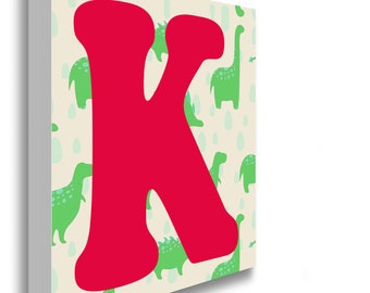 Dinosaur Green Alphabet Letter Canvas Print