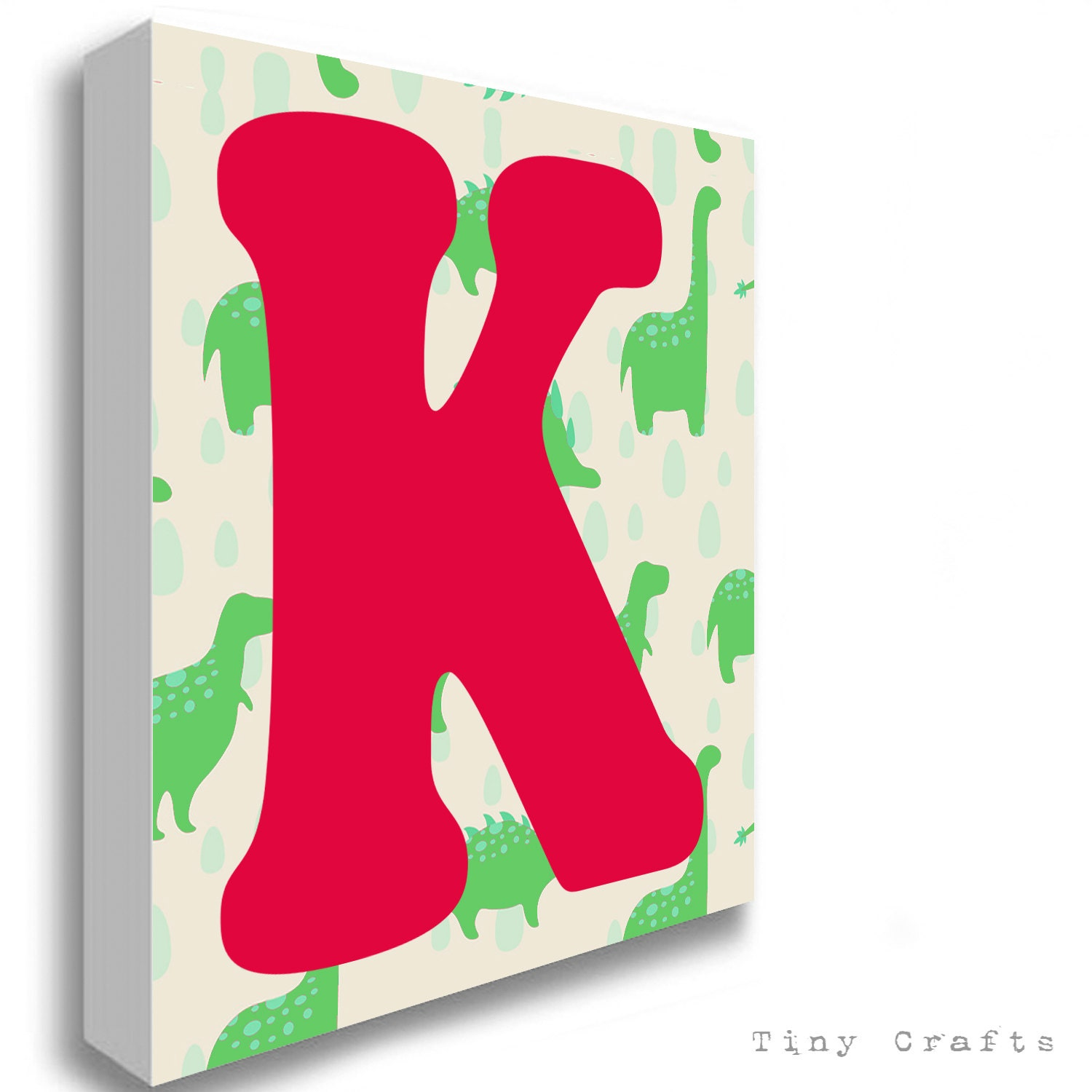 Dinosaur green alphabet letter canvas print for Letter canvas