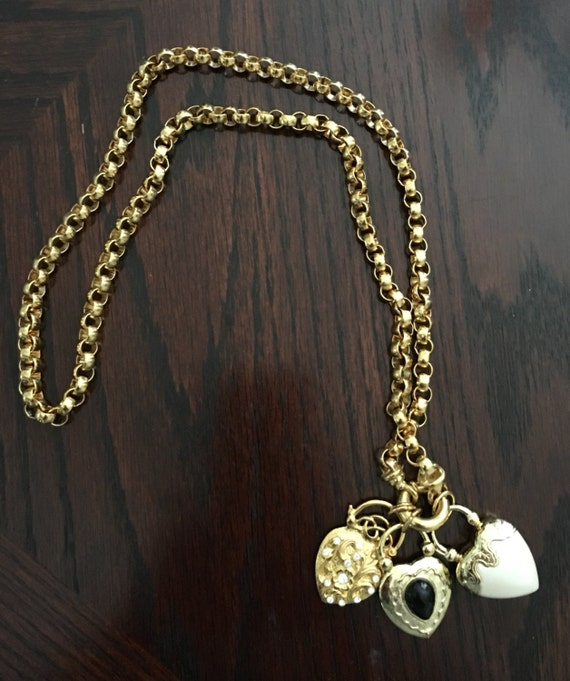 Joan rivers gold tone 3 heart necklace for Joan rivers jewelry necklaces