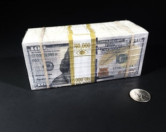 "50k Wrapped Prop Money Stack ""New Look"" - 100 Dollar Bill Fake Movie Money One Sided"