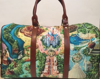 Disney Land Map Inspired Overnight Bag MADE TO ORDER (4 week Processing time)