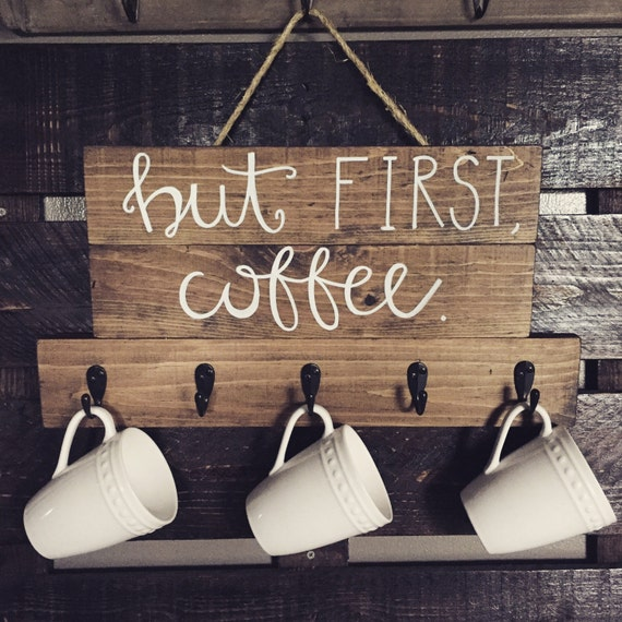 """Coffee sign, """"But first, coffee"""" wood sign, kitchen decor, wood coffee cup holder, wood coffee sign, hanging coffee sign"""