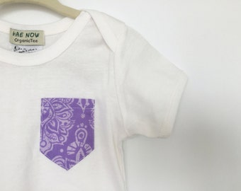 REDUCED Purple Damask Pocket Baby Onesie, Fair Trade Certified & made with Organic Cotton