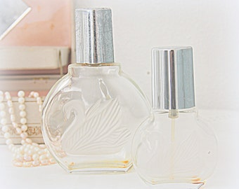 Set of Two Vintage Glass Perfume Bottles Gloria Vanderbilt 100 and 30 ml.