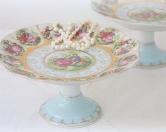 Vintage Porcelain Cake Stand, Fragonard Scenes, Cupcake Stand, Cake Pedestal
