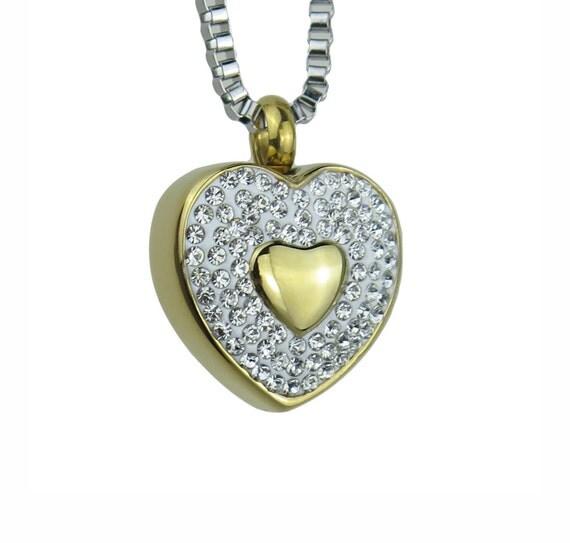 golden crystal heart urn pendant necklace gold plated. Black Bedroom Furniture Sets. Home Design Ideas