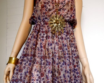 1970's Indian Cotton Floral Print Summer Dress -  Size 8/Small