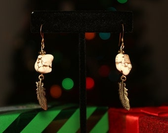 Howlite Gold Feather Drops