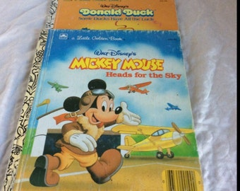 Free shipping with this lot of 80's Little Golden Books. 1987 Mickey Mouse, and Donald Duck.
