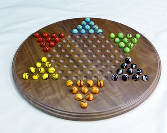 Chinese checkers with marbles | walnut Chinese checkers board