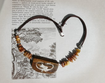 pendant, dragoon, wood, medieval, amber, wood, amber, Dragon necklace,