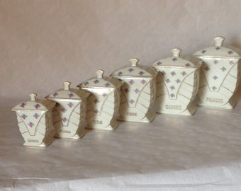 Kitchen Canisters, Canisters, Canister Set, Kitchen Canister Set, Beautiful Complete Set of Vintage French Kitchen Jars