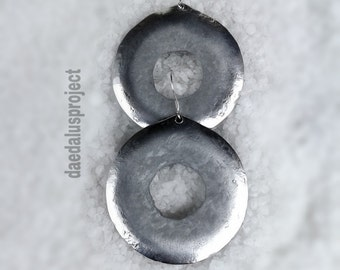 hammered circle drop earrings 925 Silver oxidized hammered earrings handmade jewelry