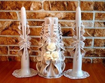 Wedding Candles ivory, carved candles, wedding gift candles handmade-carved candles, ivory