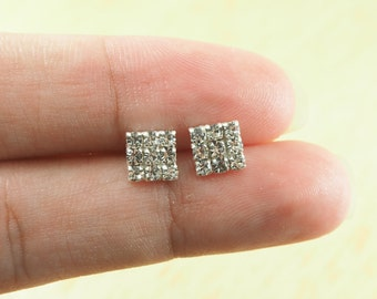 CZ Square Stud Earrings, Square earrings, 925 Sterling Silver, Dainty earrings, Geometric Jewelry - SA142