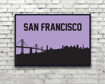 San Francisco city skyline poster art print, California, the bay area, Bridges, San Fran