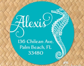 Majestic Seahorse Return Address Labels - 1.5 Inch Round Personalized Stickers - Preppy Sea Horse Beach Themed Circle Envelope Seals