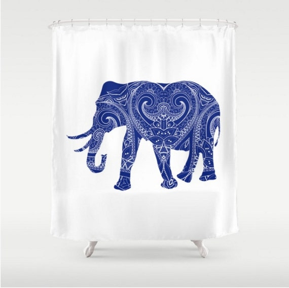 Like this item Elephant Blue Mandala Shower Curtain Navy Blue White Boho. Navy Blue And White Shower Curtain. Home Design Ideas
