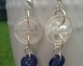 White and Blue Button Earrings