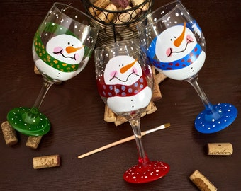 Jolly Snowman Holiday Glass