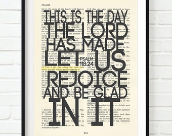 Vintage Bible page verse scripture - This is the Day the Lord has Made - Psalm 118:24 ART PRINT, UNFRAMED, dictionary page christian gift
