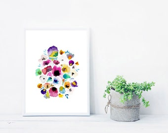 Pretty Watercolor Floral Print - Pansy watercolor giclee print - Floral Wall Art - Botanical prints - Colorful Watercolor Art