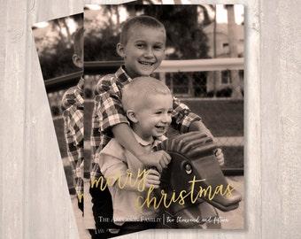 Christmas Photo Card, Gold Foil, Family Photo Holiday Card - PRINTABLE - Digital File