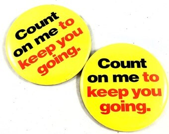 Set of two Vintage yellow and red buttons, count on me to keep you going, Shell LOGO