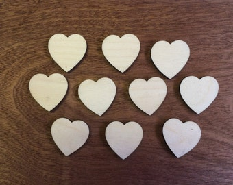 10 x Birch Hearts Various sizes, 3 cm, 5 cm, 7.5 cm and 10 cm, all 3 mm Thick, Unfinished