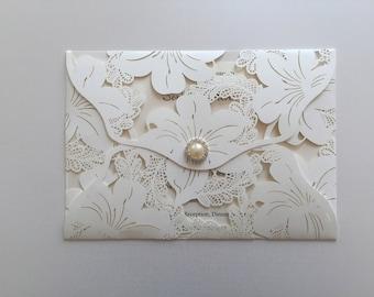 Wedding Invitation Lace Lasercut Wallet